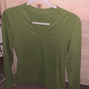 Stunning green long sleeve low scoop v neck